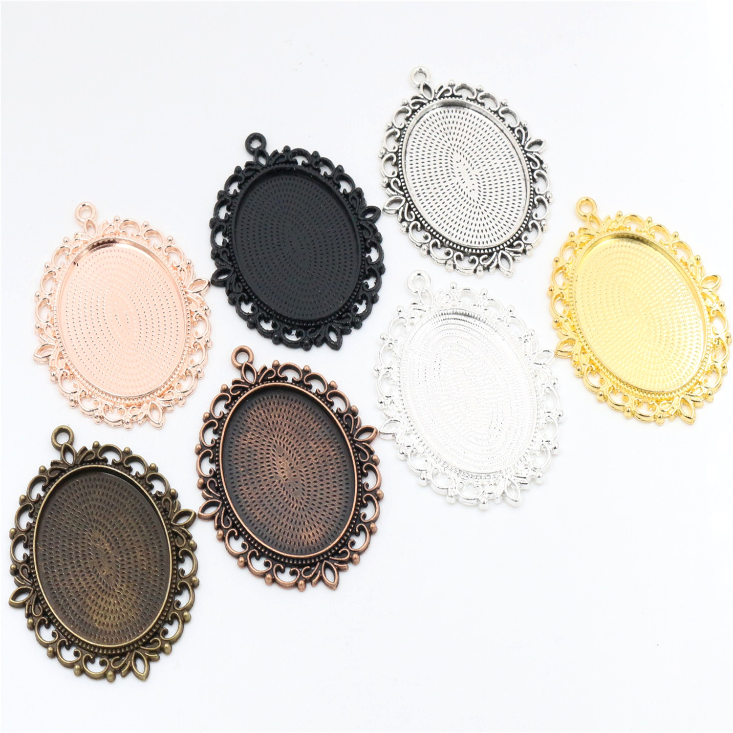 New Fashion 5pcs/Lot Fit 30x40mm Inner Size Cameo Cabochon 7 Colors Plated Cabochon Base Setting Charms Pendant