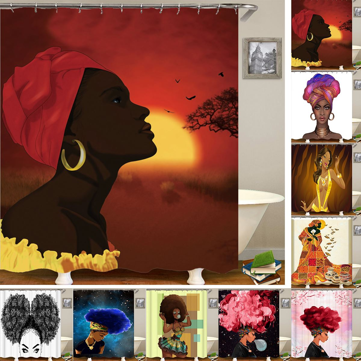 Unique South Africa Anime Figure Print Shower Curtain Waterproof Figure Print Shower Curtain With 12 Hooks For Bathroom