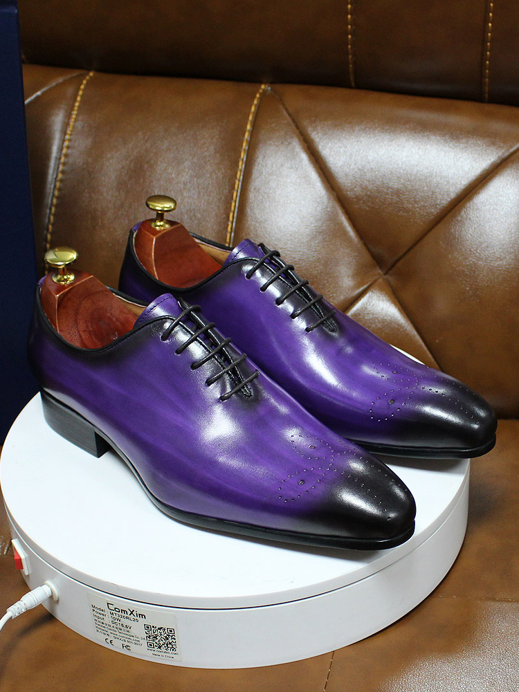 Oxfords Men Dress-Shoes Italian Party Purple Blue Genuine-Leather Whole-Cut