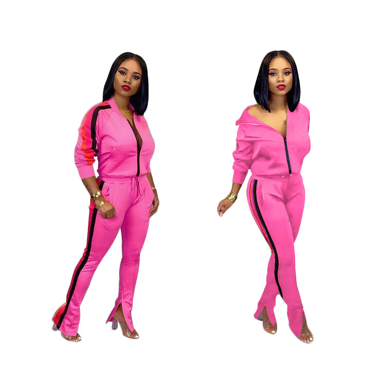 Winter Two Piece Set Tracksuit Women O Neck Zipper Top Female Loose Long Sleeve Jogging  Pants Sets Femme Outfits