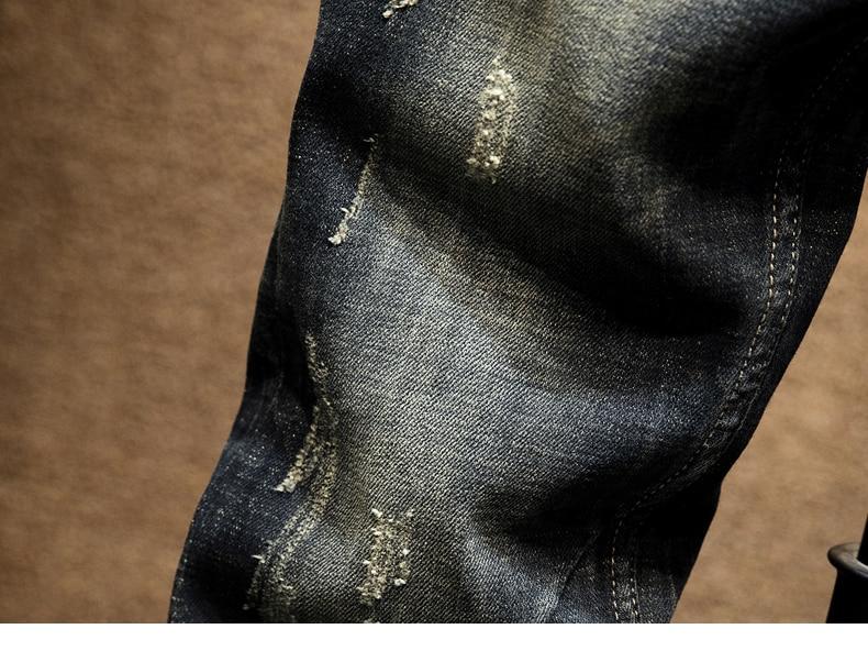 KSTUN Punk Jeans Men Slim Fit Stretchy High Street Wear Retro Blue Casual Denim Jeans Pants Mens Biker Jeans Vintage Spring and Autumn 17