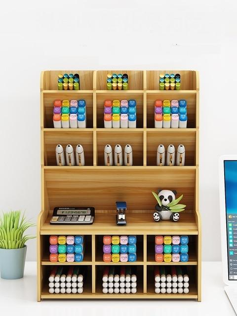 多機能木材19グリッド卓上スタンドホルダー化粧ブラシ収納ボックス化粧品ブラシジュエリーディスプレイラック収納ボックス & ビン