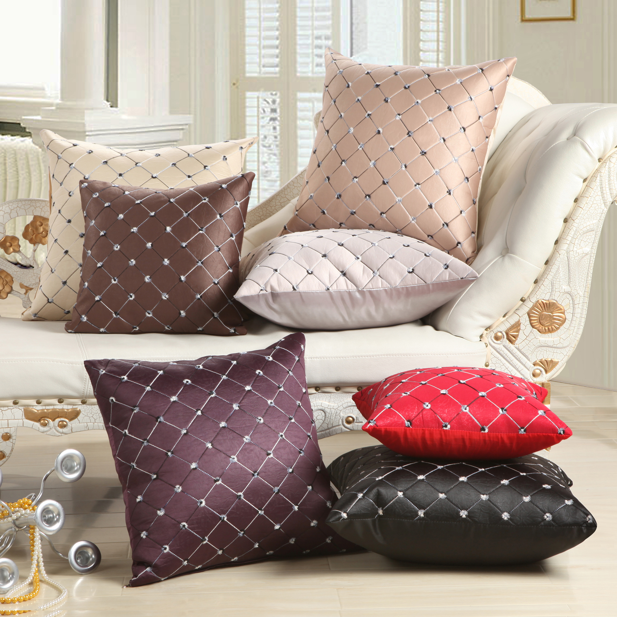 American Simplicity Style Leather Texture Embroidered Cushion Covers Fashion Solid Plaid Pillow 45*45cm Decorative