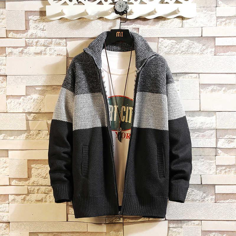 스트라이프 컬러 새로운 2020 두꺼운 패션 브랜드 스웨터 망 카디 건 니트 따뜻한 가을 일본 디자인 의류 플러스 크기 M-3XL