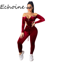 Sexy Off Shoulder 2 Piece Set Women Crop Top Bodysuits  + Long Pants Long Sleeve Gold Velvet Jogging Femme Sportwear Outfit off the shoulder checked long sleeve crop top