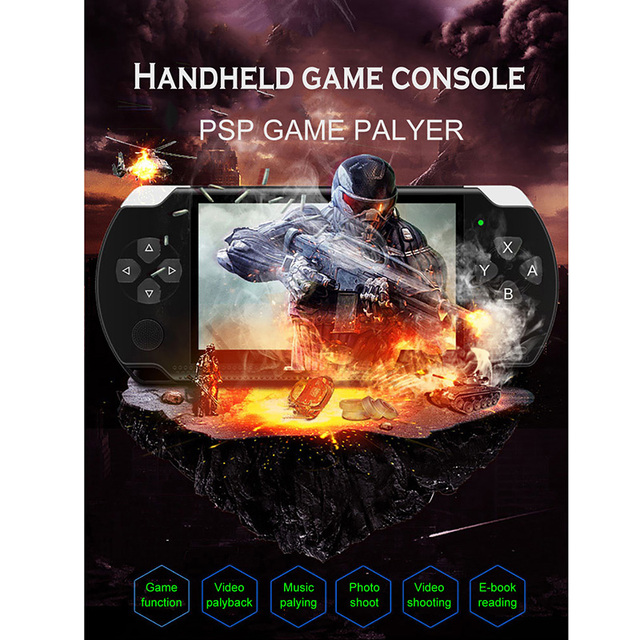 X6 4.3 Inch Handheld Game Console Player 10000 Games 32Bit 8GB Support for PSP Game/Video/E-Book(Black)