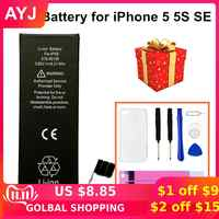 AYJ 2019 High Quality Battery for iPhone 5 5S 5C SE 5SE Replacement Zero 0 Cycle Free Repair Tools Kit Battery Tape TPU Case