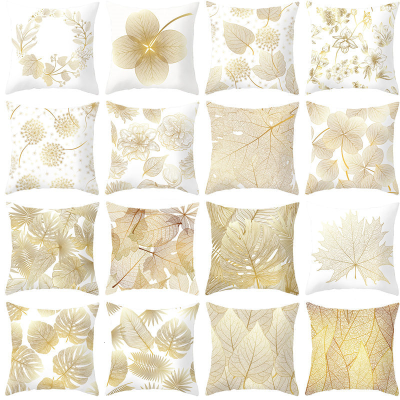 Golden Flowers Leaves Cushion Cover Polyester Throw Pillows Soft Decorative Pillowcase For Home Sofa Chair Pillow Covers
