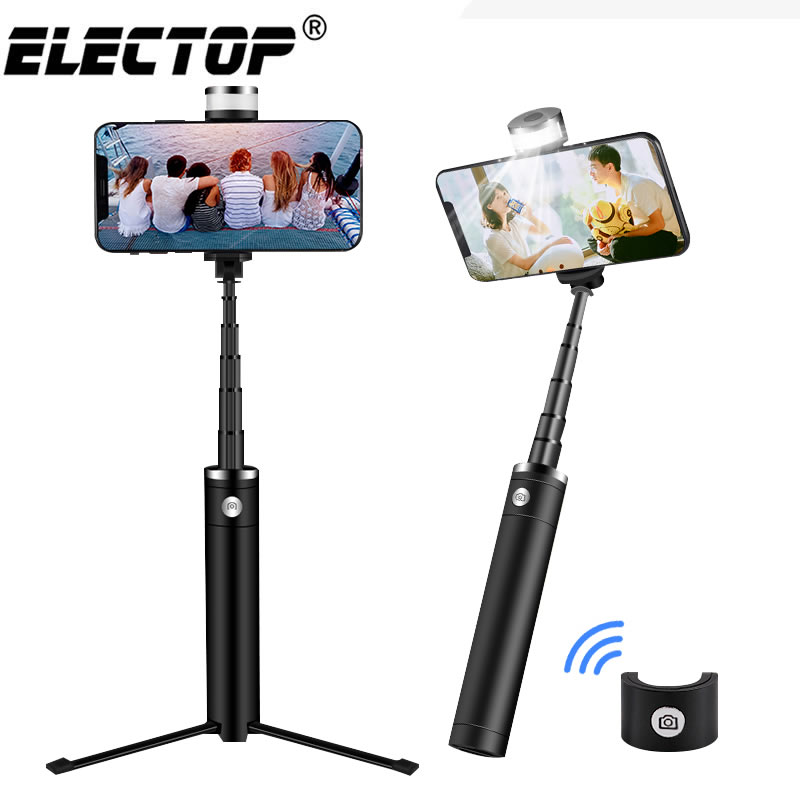 Electop Portable Monopod Bluetooth Selfie Stick Tripod With Ring Light Selfie Beauty Portrait Fill Lighting For Phone X 8 7 plus