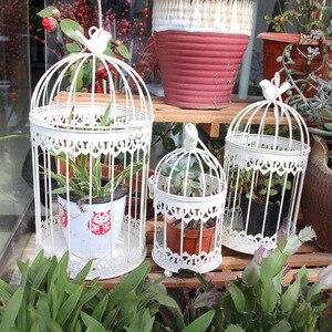 Современный кованого железа металлическая клетка белый маленький средний комплекты больших украшение птица в клетке висячий горшок для цв...