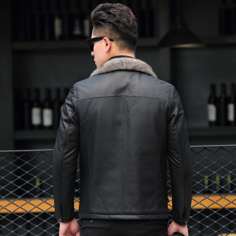 Genuine Leather Jacket Winter Jacket Men 90% Duck Down Jackets Mink Fur Collar Sheepskin Coat Chaqueta Hombre MY1329
