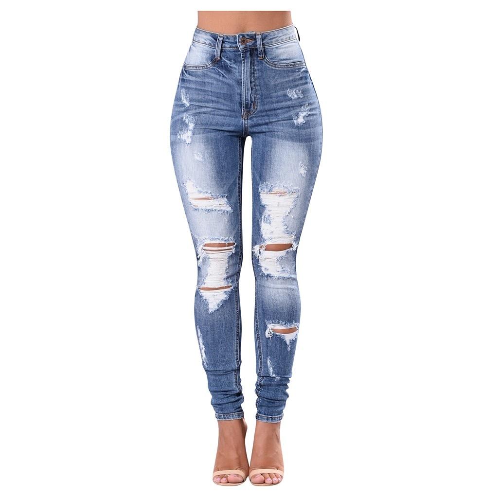 jeans woman mom high waist jeans mujer spodnie damskie jean vaqueros mujer denim streetwear plus size calca jeans Hole Button Z4