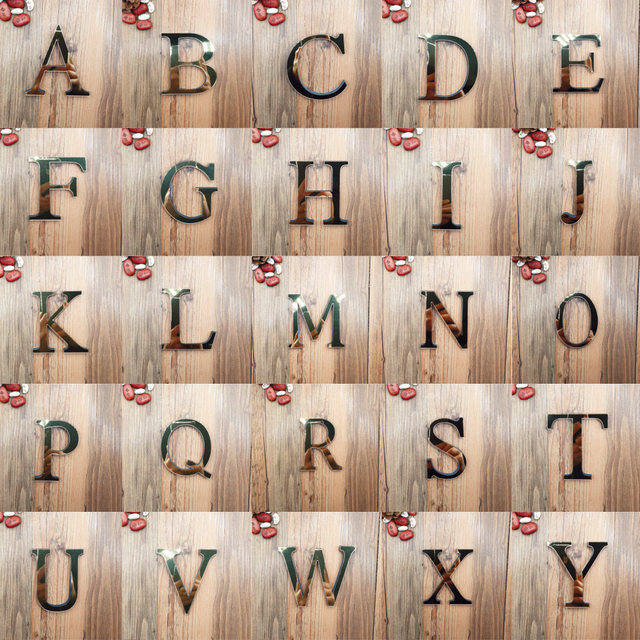 Acrylic Mirror 26 Capitalized English Decorative Scrabble Letters Stickers Alphabet Wedding Decoration Room Door Wall Stickers 1