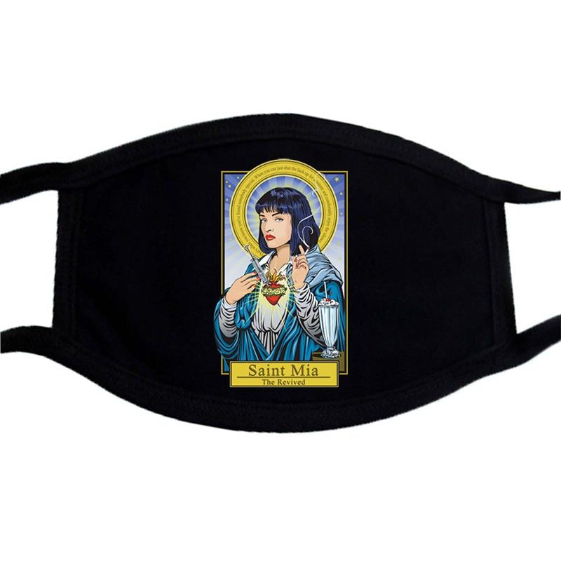 Spoof Virgin Mary Mask Mafia Hardcore Pablo Escobar Printing Black Anti-haze Mask Dustproof Washable Mouth-Muffle