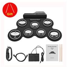Компактный размер USB ролл-ап барабанная установка цифровой набор электронных ударных 7 барабанных колодок с барабанные палочки, ножные педали для начинающих детей