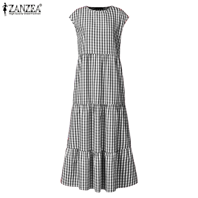 gingham dress, nice belted, tri-level skirting swing, cuff sleeve 5