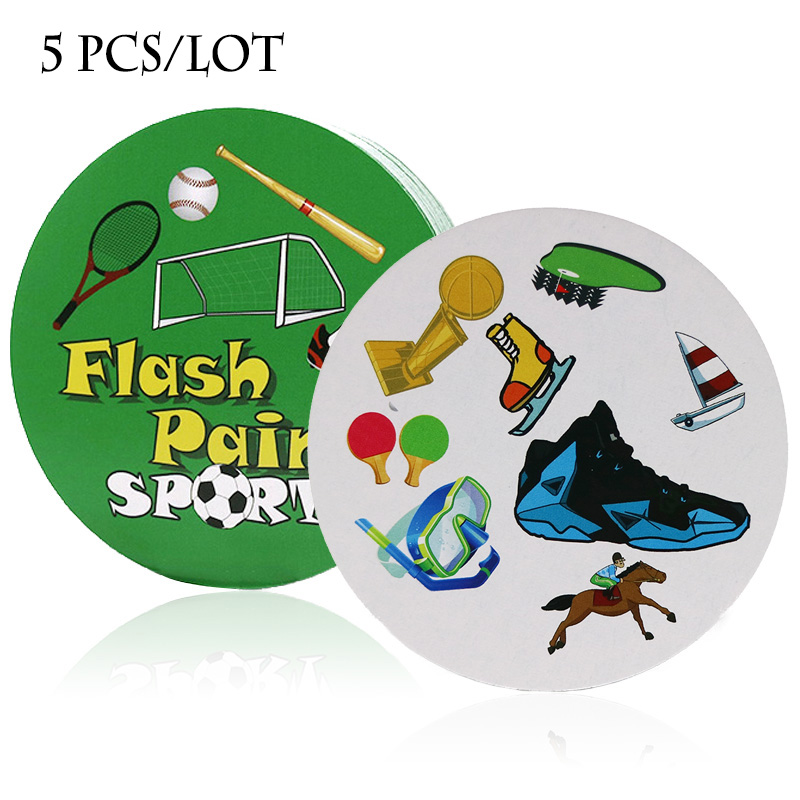 5 Pcs/lot Flash Pair Sport Board Game Spot For Kids Pair It Dobble Card Game Family Party Game Wholesale