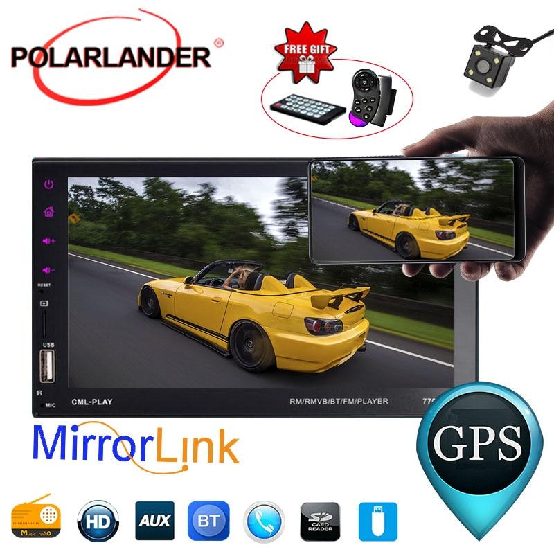 7 дюймов для телефона Android Mirror Link 9 языков 2 DIN сенсорный экран автомобильный Радио плеер с камерой заднего вида Поддержка BT/FM/TF/USB