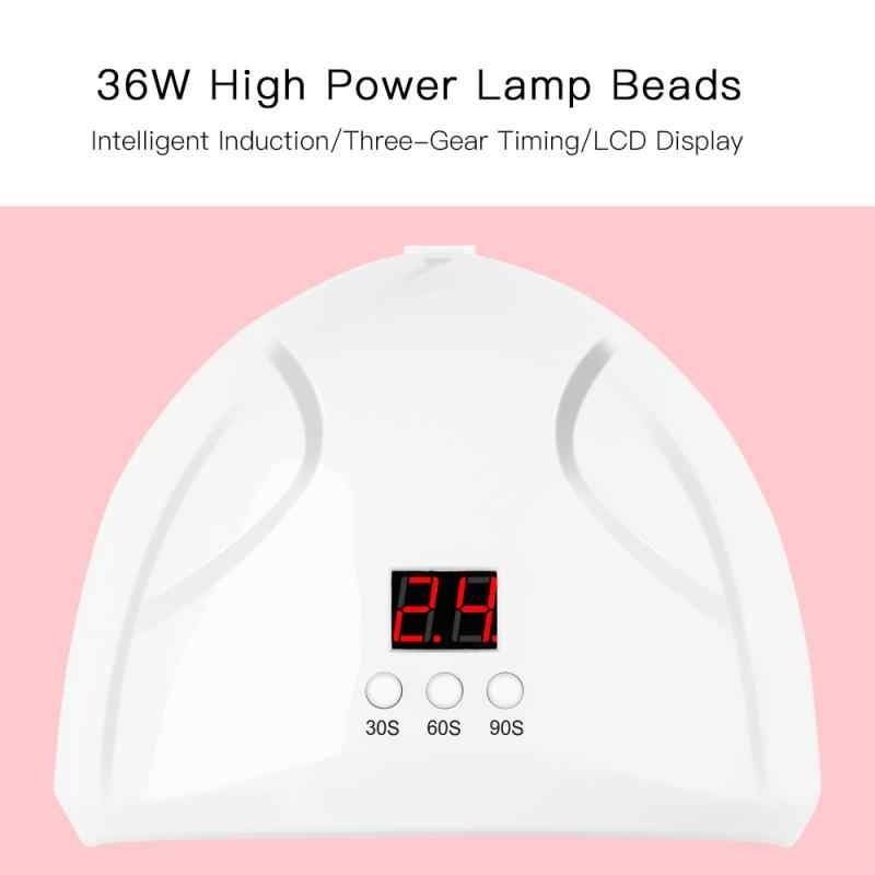 Uv led デュアルライトネイルランプ自動センサーネイルドライヤージェルマニキュア 36 ワットドライヤーランプポリッシュ太陽ライトタイマー 20/60/90 4s ネイルドライヤー