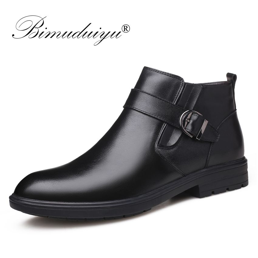 BIMUDUIYU Men Autumn Genuine Leather Boots With Fur Winter Men Fashion Ankle Boots Business Casual Man Snow Boots Work Shoes
