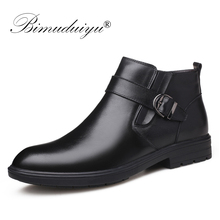 BIMUDUIYU Men Autumn Genuine Leather Boots With Fur Winter Men Fashion