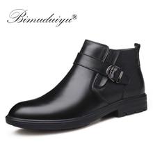 BIMUDUIYU Men Autumn Genuine Leather Boots With Fur Winter Men Fashion