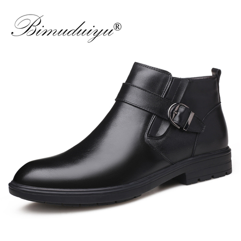 BIMUDUIYU Men Autumn Genuine Leather Boots With Fur Winter Men Fashion Ankle Boots Business Casual Man Snow Boots Work Shoes Pakistan