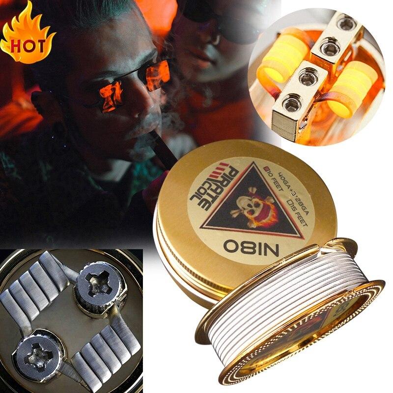PIRATE COIL Fashion Accessories Ni80 Heating Wire Pirate 3 Core Clapton Fancy Heating Wire for Electronic Cigarette 3m 40GA+3*28