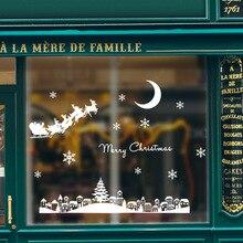 Christmas Moonlight Town Snowflake Letters Wall Stickers  Room House Decoration Habitacion Kids Bedroom Decor JWK