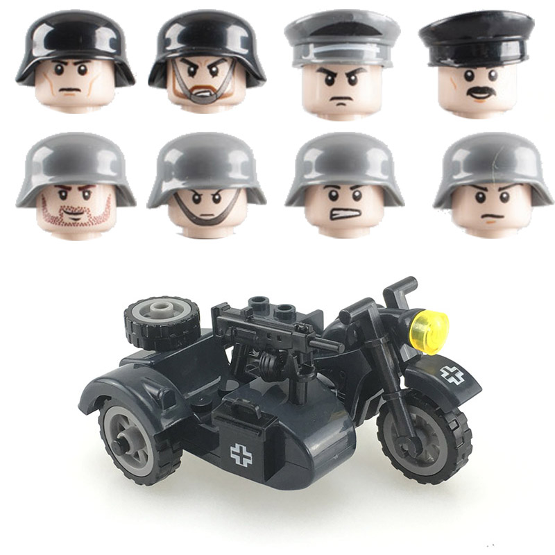 WW2 Germany Military Motorcycle Accessories Building Blocks Army Soldiers Rifle Vehicle Model Weapons Bricks Toys for Children