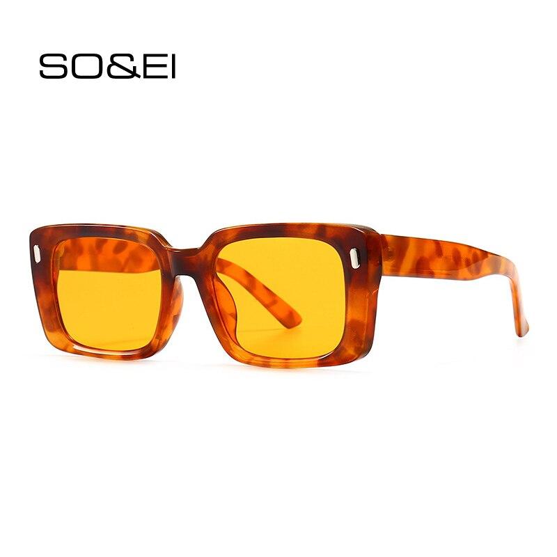 Мужские и женские прямоугольные очки с заклепками SO & EI, желтые солнцезащитные очки в стиле ретро, с квадратными леопардовыми линзами, с защи...