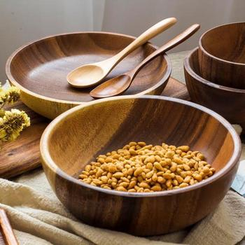 Japanese retro acacia whole wood caved salad solid wood bowl children's tableware set wholesale logo customized