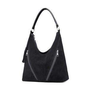 Image 2 - Fashion Green Suede & PU Leather Female Shoulder Bags Women Leather Handbag Designer Large Ladies Hobos Bag For Mother Hand Bags