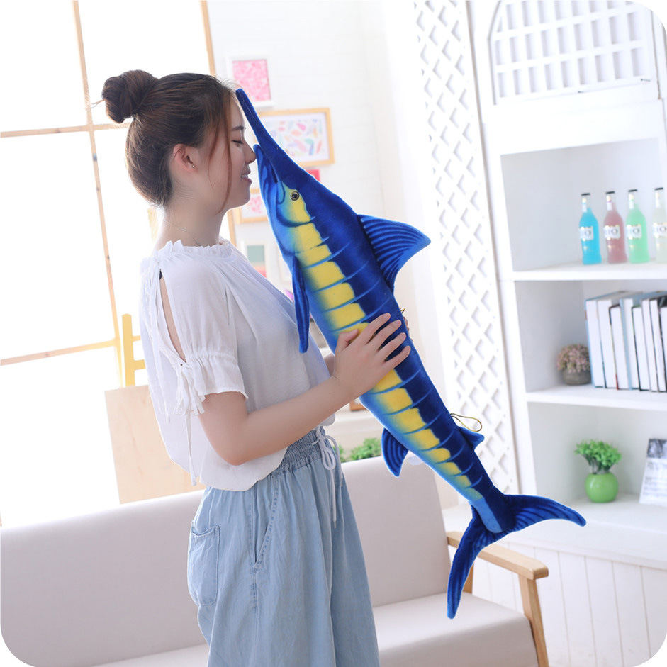 Creative Simulation Modeling Sea Animal Plush Toy Blue Marlin Pillow Doll Doll Girl Birthday Gift