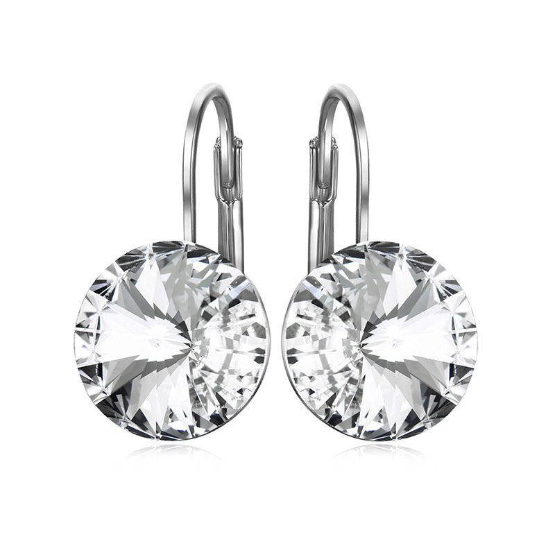 BAFFIN Fashion Crystals From Swarovski Dangle Earring Silver Color Bella Round Dorp Earrings For Women Party Wedding Bijoux Gift