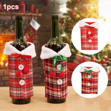 Wine Bottle Cover Christmas Table Decoration Red Wine Set Plaid Simulated Linen Clothes Bottle Cover Set Christmas Layout(China)
