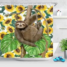 Cartoon Animal Sloth Shower Curtain For Bathroom Waterproof Floral Sunflower Leaves Bathtub Curtains Polyester Fabric Curtain waterproof eiffel tower floral polyester shower curtain