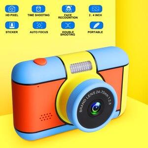 Image 1 - Mini aparat dziecięcy Mini 2.4 Cal Ful ekran HD podwójny obiektyw cyfrowy aparat zabawka wakacje zdjęcie wideo prezent na boże narodzenie aparat zabawka