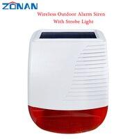 433MHz Solar al aire libre impermeable sirena inalámbrica luz Flash estroboscópico altavoz para antirrobo casa Wifi 4G GSM alarma sistema de seguridad