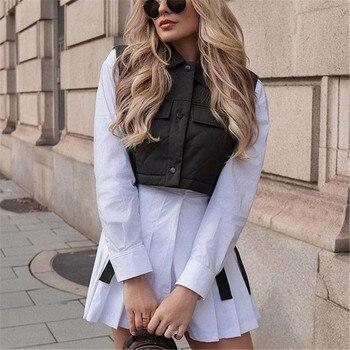 Womens Vest Army Green Lapel Sleeveless Jacket 2021 Fashion Large Pocket Design Waistcoat Streetwear Tops 1