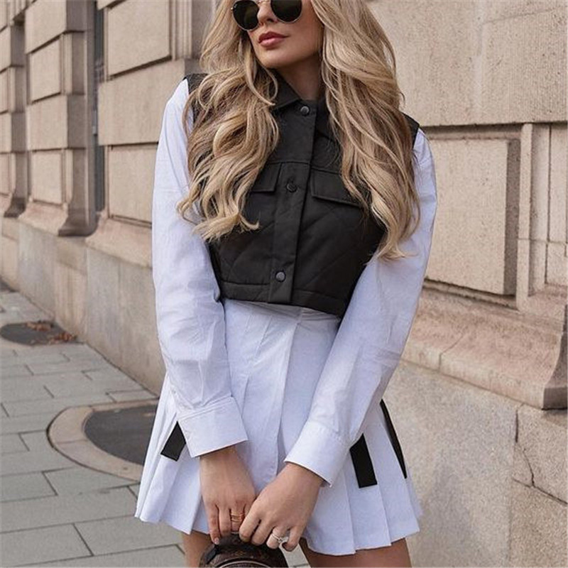 Womens Vest Army Green Lapel Sleeveless Jacket 2021 Fashion Large Pocket Design Waistcoat Streetwear Tops