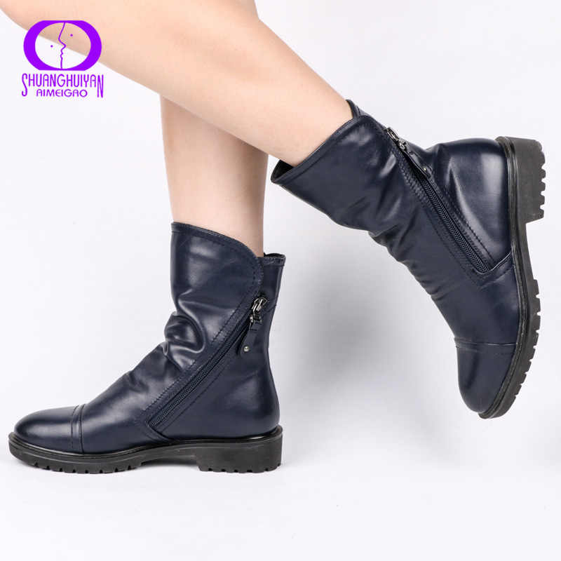 AIMEIGAO Winter Fur Double Zippers Ankle Boots Women Shoes Warm Plush Low Heels Shoes Women Round Toe Soft Leather Para Mulheres