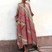 Women Oversize Vintage Dress Spring V Neck Long Sleeve Pockets Lady Loose Dress Elegant Print Stripe Casual Maxi Dresses Vestido