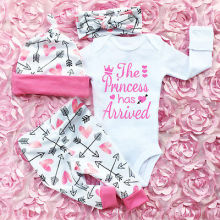 US $5.45 13% OFF|Pudcoco Girl Suits 3PCS Newborn Infant Baby Girls Clothes Playsuit Romper Pants The Princess Has Arrived Outfit Set on AliExpress