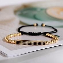 2020 Luxury Gold Long Strip Beads Bracelet Men Classic CZ Adjustable Bracelet Homme Handmade Jewelry For Women