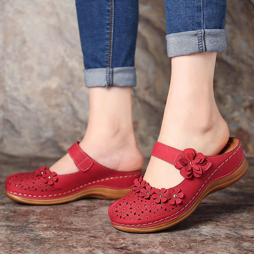 Litthing sandálias femininas verão artesanal senhoras sapato de couro sandálias florais femininos apartamentos estilo retro mãe sapatos tamanho