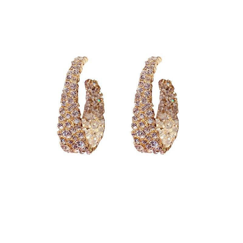 Bling Earrings for Party Baroque Exaggerated Water Drill Ear Ring for Women 2020 Sale New Fashion Round Gold Color Luxry Design