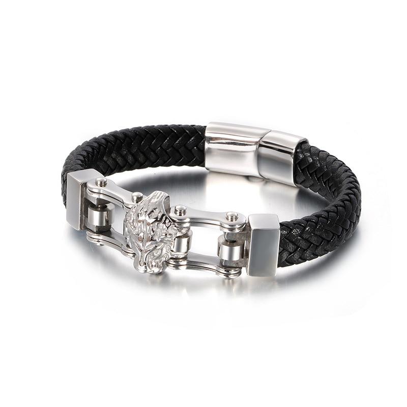 New men's leather bracelet European and American creative retro lion head locomotive personality simple male bracelet