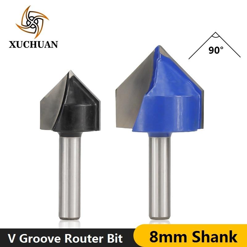 1pc 8mm Shank 90Degrees V Slot Wood Milling Cutter V Groove Wood Engraving Bit Diameter 22mm 32mm V Shape 3D Cutter