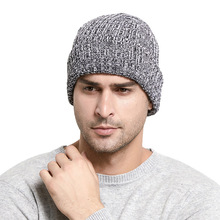 Knitted Lapel Short Melon Cap  Knit Cap Solid Color Autumn Winter Hat Men Short Head Cap Outdoor Warm  Street Head Cap Woman